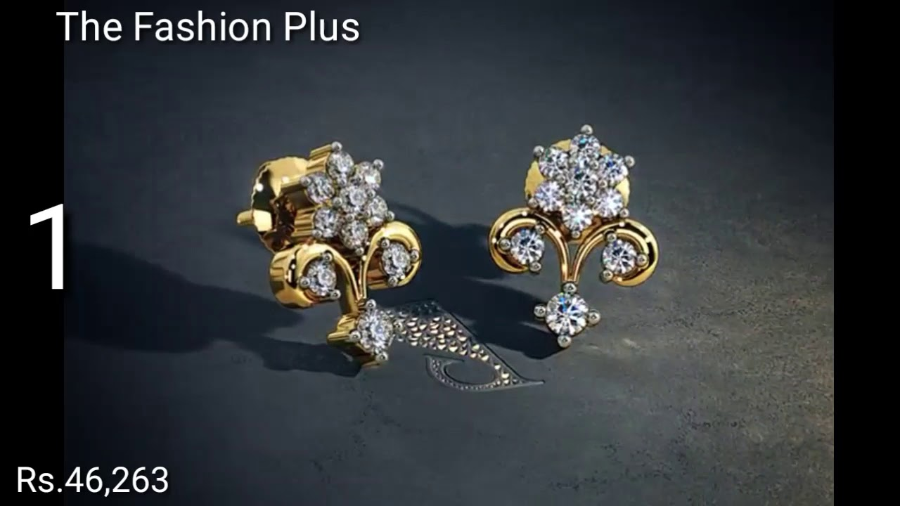 Gold Ear Studs Designs With Price By Blue Stone