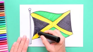 How to draw and color the National flag of Jamaica