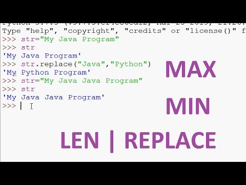 Built in String Functions in Python | MAX | MIN | LEN | REPLACE | Python Tutorials thumbnail