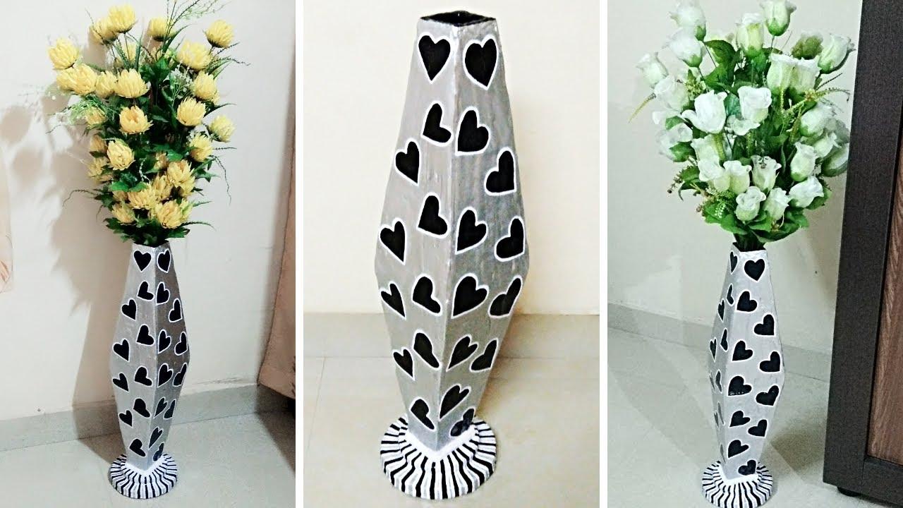 How To Make Handmade Big Flower Vase With Cardboard At Home Diy Flower Vase Youtube