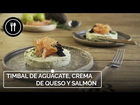 Timbal de aguacate, crema de queso de cabra y salmón, receta de entrante fácil y listo en 10 minutos (con...