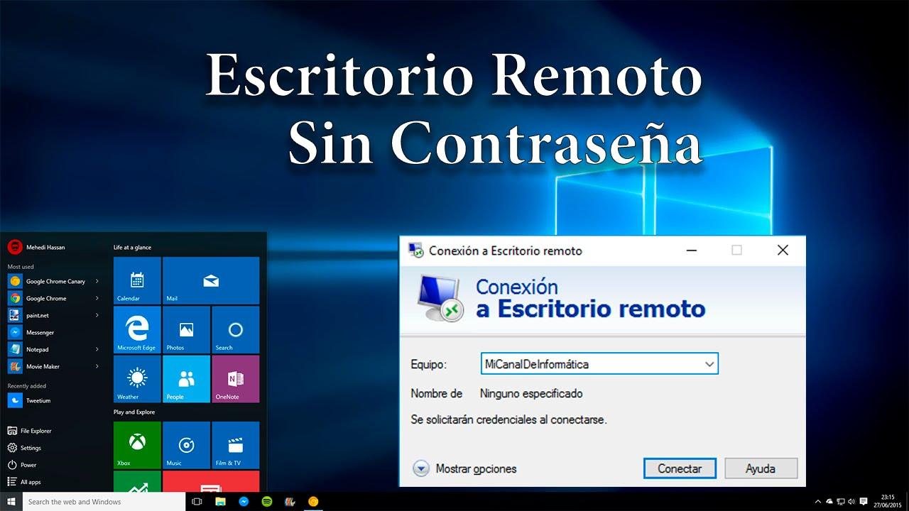 Escritorio Remoto En Windows 10 Sin Necesidad De Contrasena Youtube