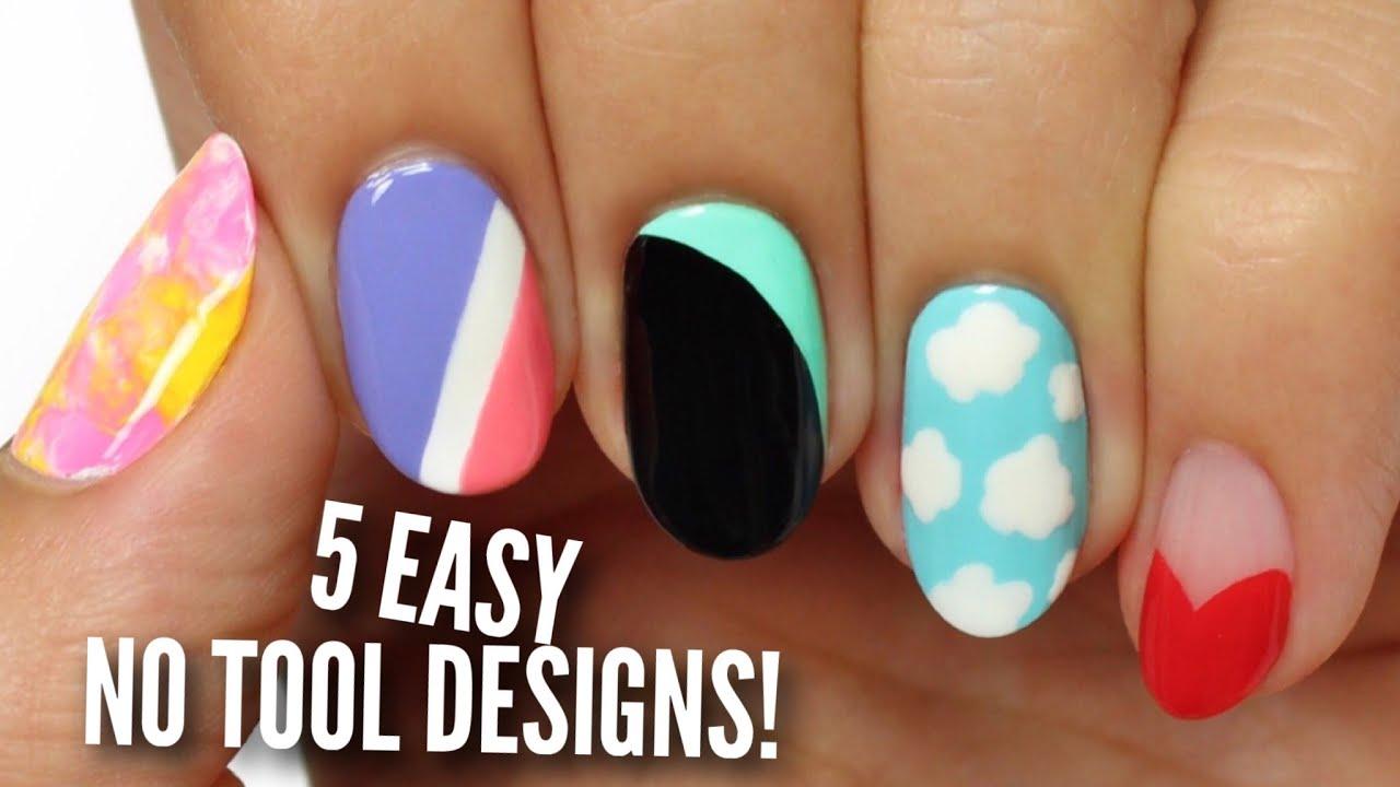 No Tool Nail Art: 5 Easy & Cute Designs! - YouTube