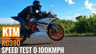 KTM RC390 (2016-17) Speed Test 0-100 KMPH after 16.5k KMs