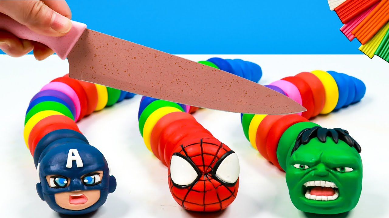 Colorful worm mod Superheroes with clay ️🐛 Hulk, Spiderman, Captain America 🐛Polymer Clay Tutorial