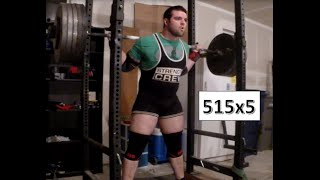 Moving towards strong again: 515x5 beltless squats
