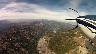 Birth of a HUGE Wild Fire - California Mountain Flying - C182 Skylane - ATC audio