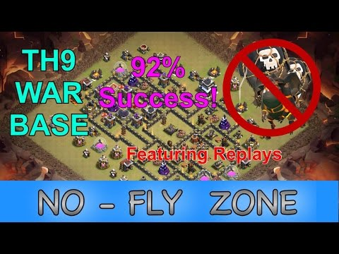 92% Success Rate TH9 War Base - THE NO FLY ZONE - with Replays