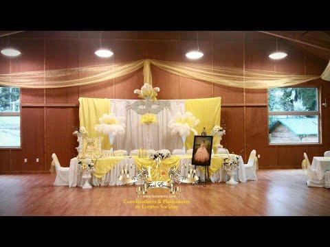 Decoracion de salon color amrillo y plata para quincea era for Decoracion de quinceanera