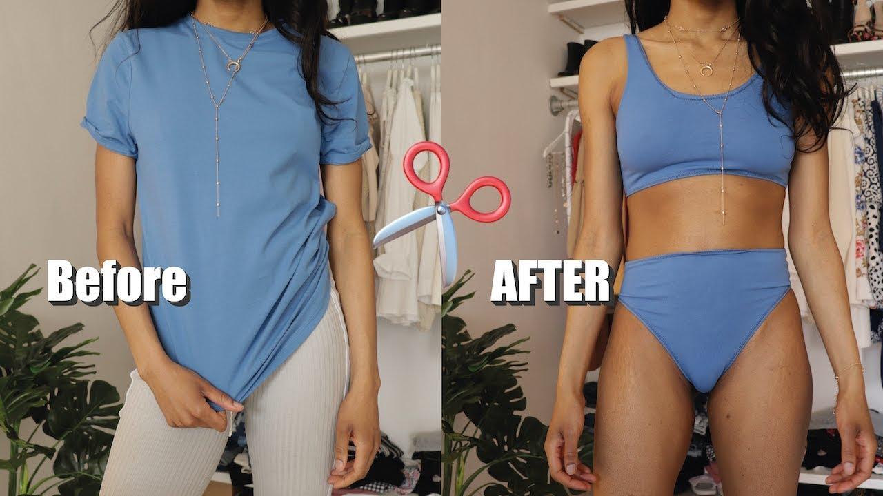 Diy Bikini Top And Bottom From T Shirt Swimwear Youtube
