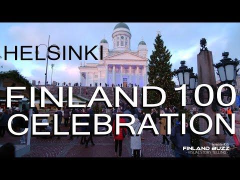 Suomi 100 itsenäisyyspäivä - Finland 100 Independence Day Celebration in Helsinki Downtown 6.12.2017