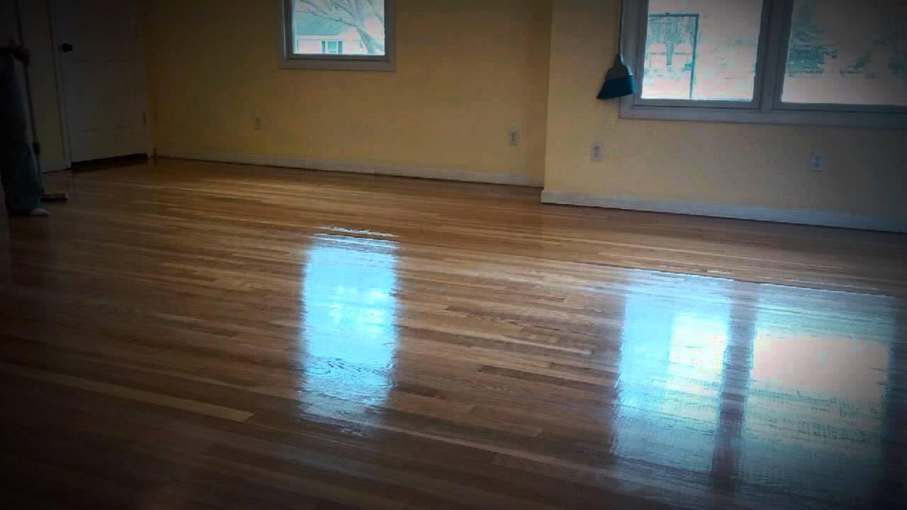 Hardwood Floor 2nd Coat Of Polyurethane Youtube