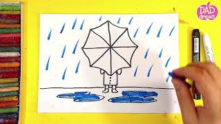 How to draw a girl under an umbrella and rain