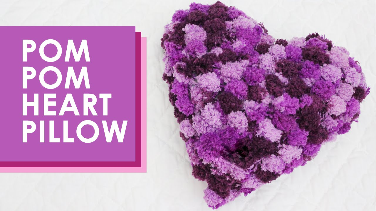 How to Knit a Pom Pom Heart Pillow - YouTube