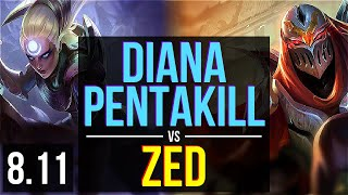 DIANA vs ZED (MID) ~ Pentakill, KDA 22/1/2, 900+ games, Legendary ~ EUW Diamond ~ Patch 8.11