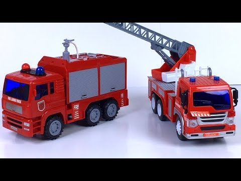 LADDER TRUCK & PUMPER TRUCK FROM FRICTION CITY SERVICE VEHICLE FIRE TRUCK RESCUE HEROES - UNBOXING