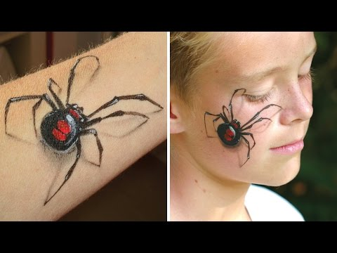 3D spider makeup / Arm and face painting tutorial - Great illusion makeup for Halloween!