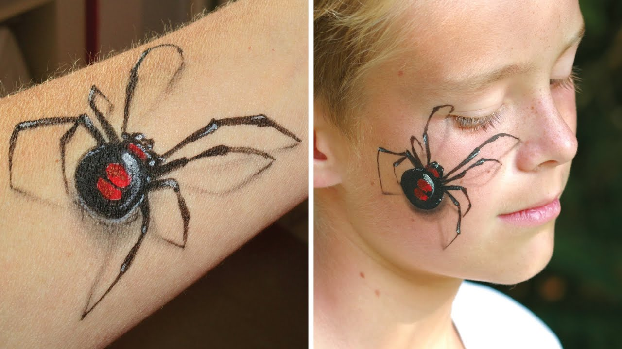 3D spider makeup / Arm and face painting tutorial - Great illusion ...