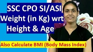 SSC CPO Weight & Height Chart with BMI (Body Mass Index)