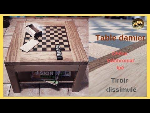 Table basse bois damier tiroir dissimulé