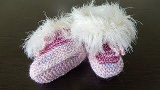 Пинетки на двух спицах  вязание  для малышей  легко и просто мастер класс