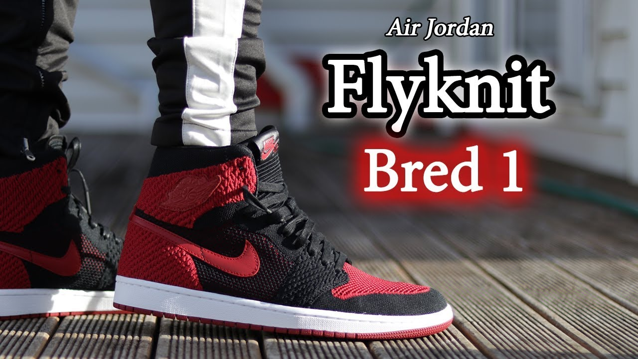 brand new d3096 35e0a Air Jordan 1   Flyknit Bred Banned   Close Up   On-Feet w  Different Pants