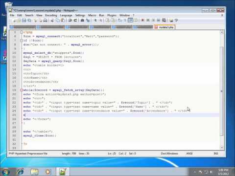 PHP Lesson 38 - Updating and Displaying Records from a MySQL Database