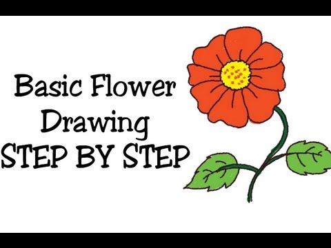 how to draw basic flower and coloring for kids and beginners step by step - Basic Drawings For Kids