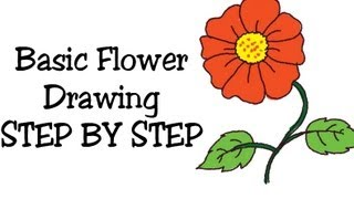 How to draw Basic flower and coloring for Kids and beginners step by step