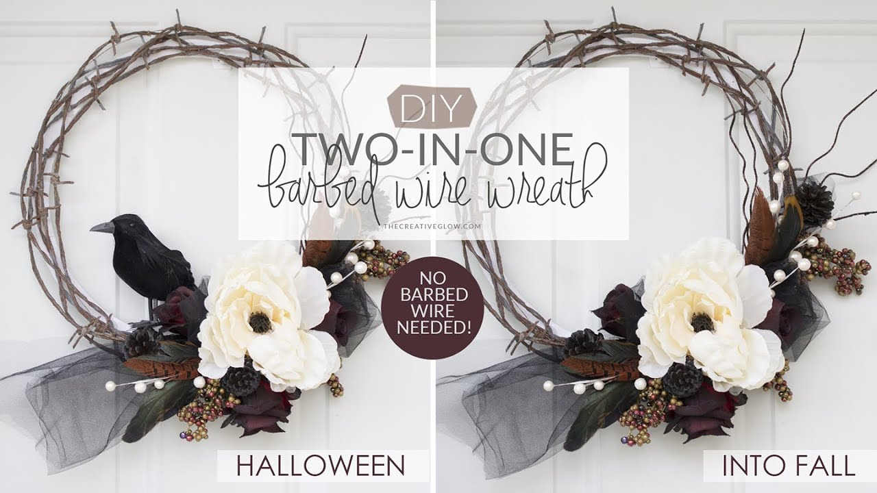 2-in-1 Halloween and Fall Wreath - NO BARBED WIRE NEEDED! - YouTube