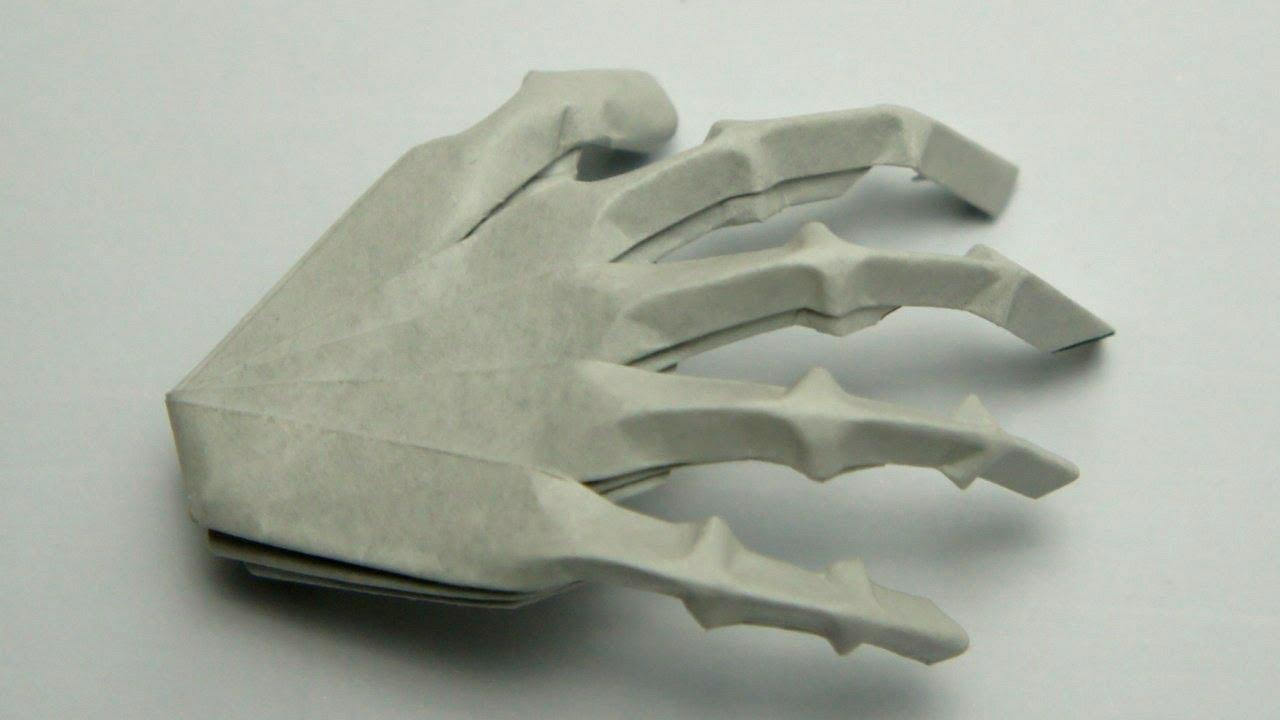 Origami Hand Skeleton Jeremy Shafer Youtube 3d Swan Diagram Http Howtoorigamicom Origamiswanhtml