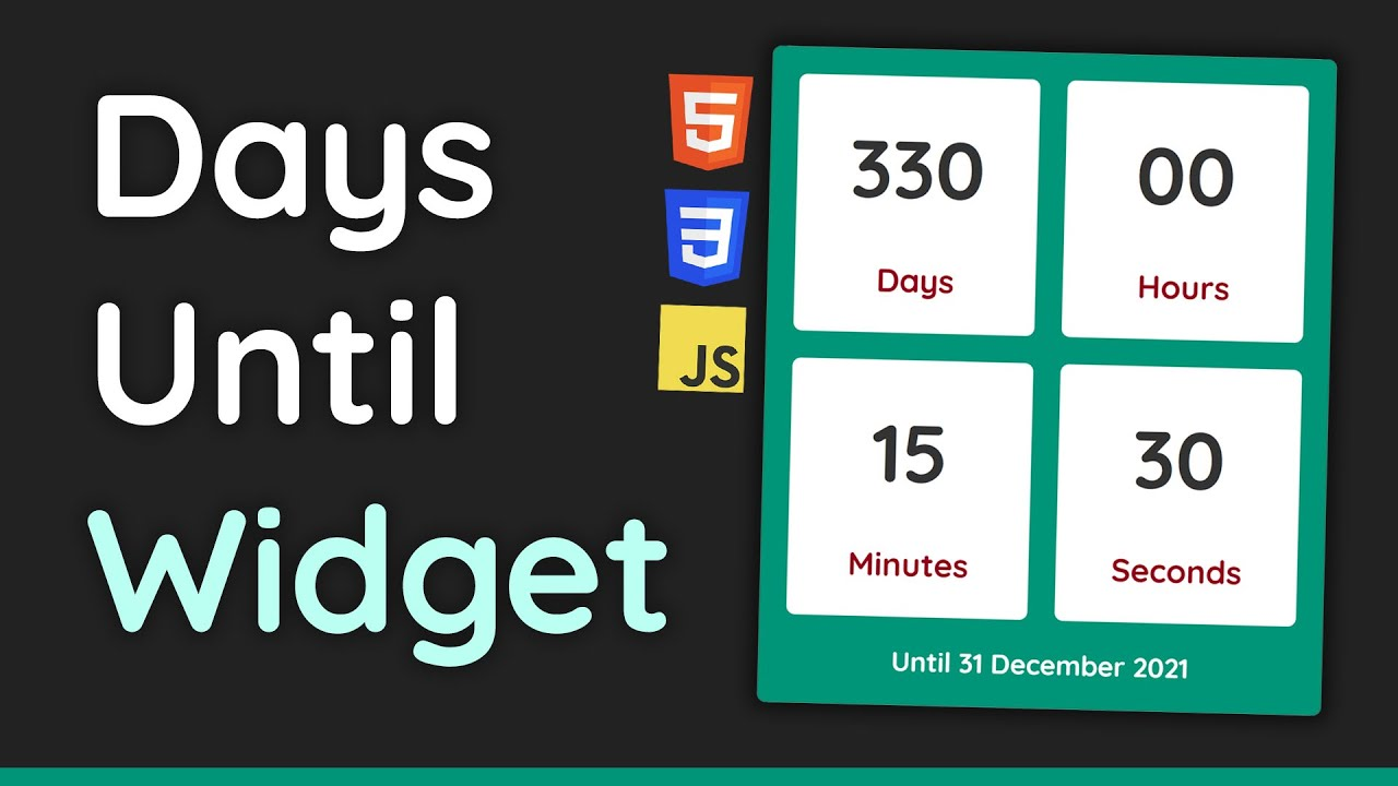 """Build a """"Days Until"""" Countdown Timer with HTML, CSS & JavaScript - Beginner's Project Tutorial"""