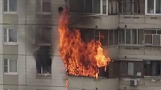 Пожар в Южном Бутове, начало. Мужчина погиб, женщину спасли!!