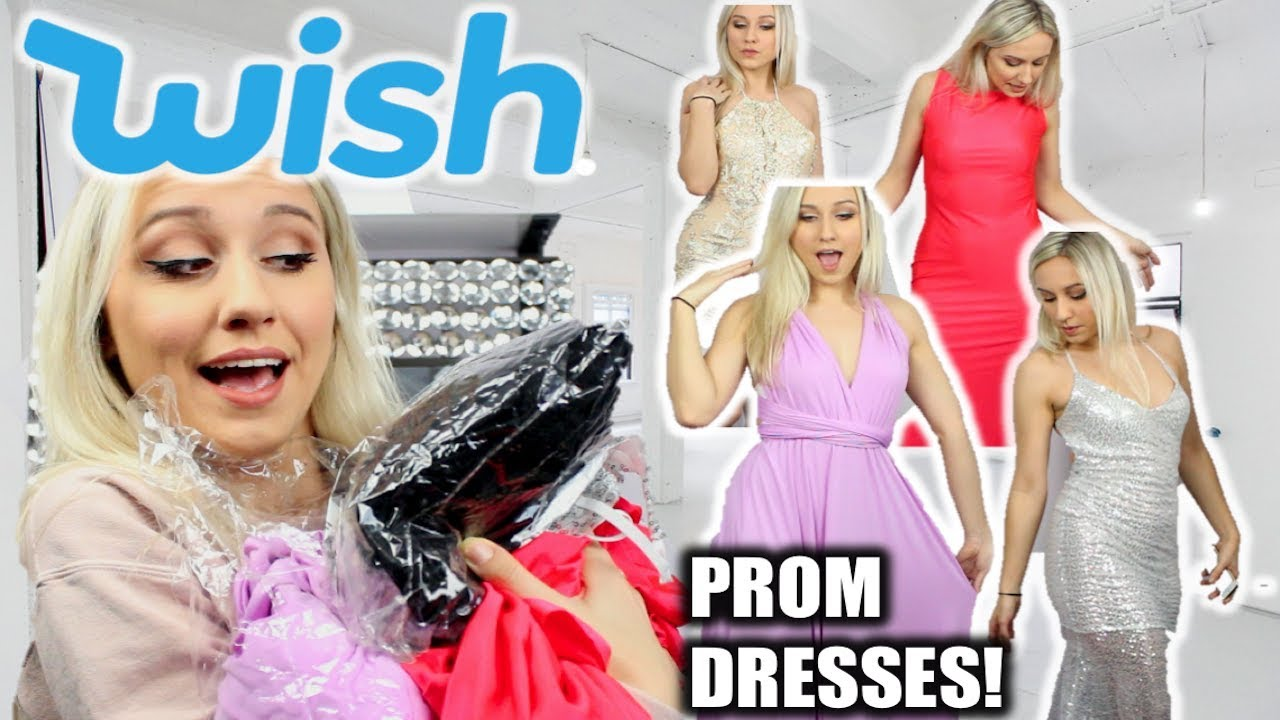 TRYING ON WISH APP PROM DRESSES UNDER $25!! - YouTube