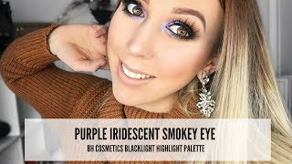 purple iridescent smokey eye   bh cosmetics blacklight hightlight palette