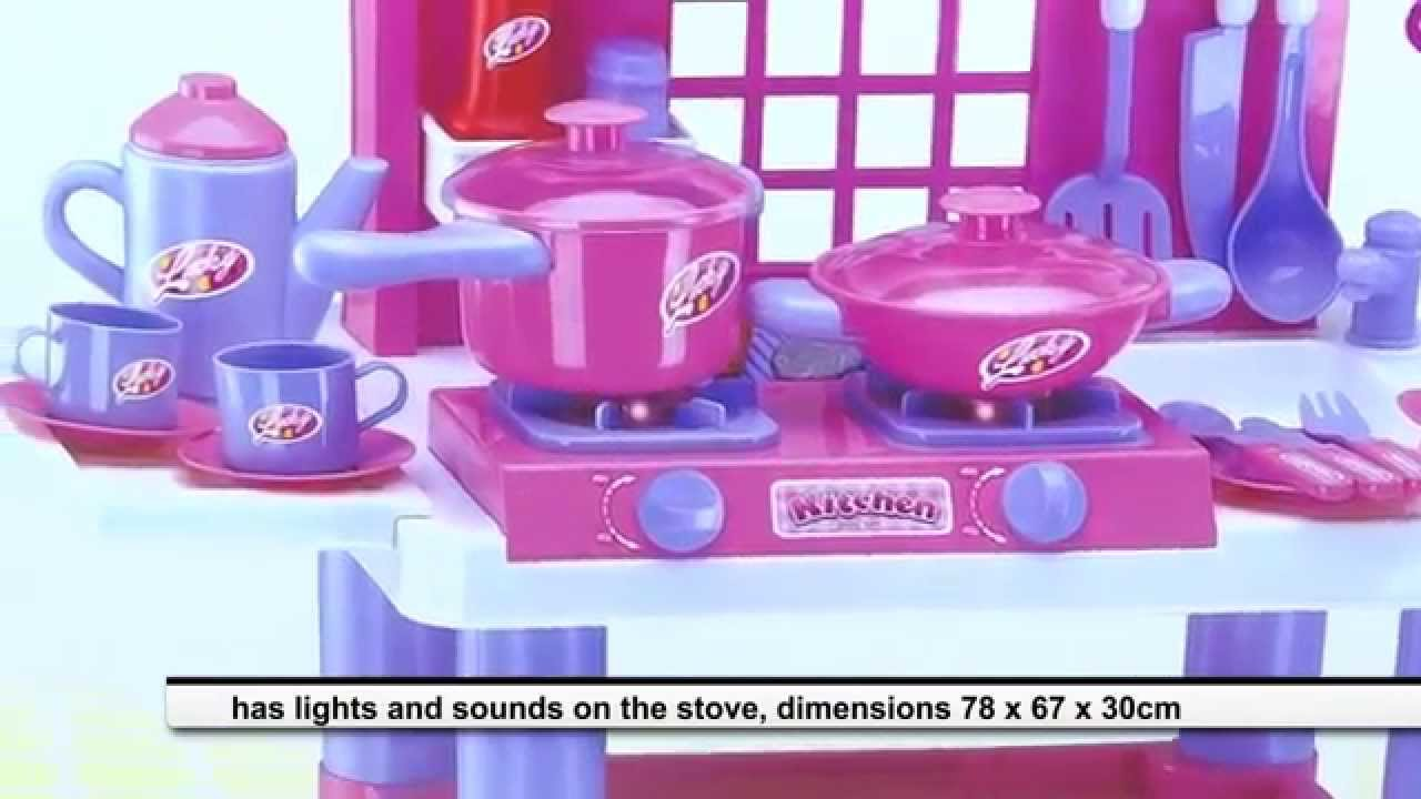 Toy Kitchen For Girls With Lights And Sounds Pots And Accessories Assembly Review Youtube