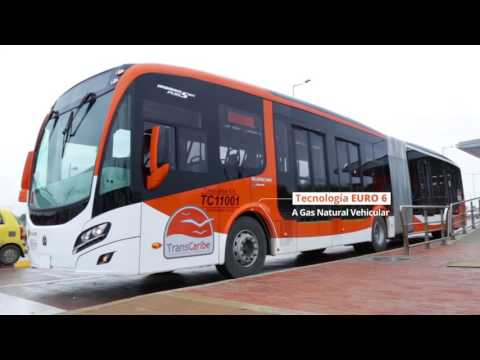 Transcaribe recorre Cartagena, con el bus articulado mas moderno de Latinoamérica