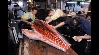 Рыбный Рынок Цукидзи - Разделка Тунца На Филейные Части, Япония