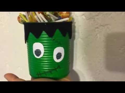 Panier monstre d 39 halloween avec une bo te de conserve youtube - Panier papier toilette ...