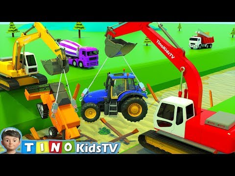 Excavator And Construction Trucks For Kids  |  Building Destroyed Bridge For Children