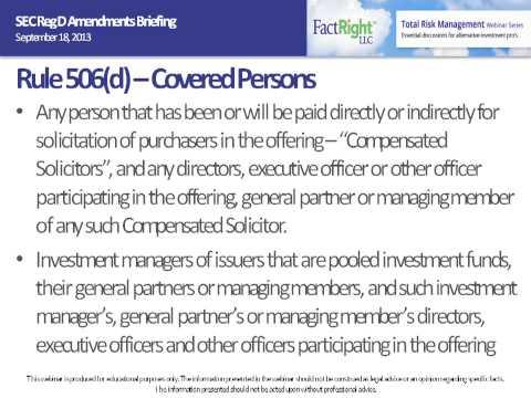 SEC Reg D Amendments Briefing September 18, 2013