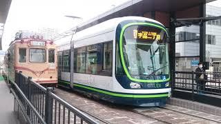 広島電鉄1000形1013号&1006号 広電本社前発車