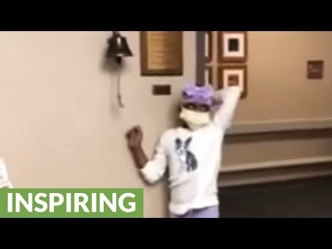 Heroic girl rings bell for her last day of radiation
