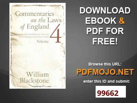 Commentaries on the Laws of England Vol  4