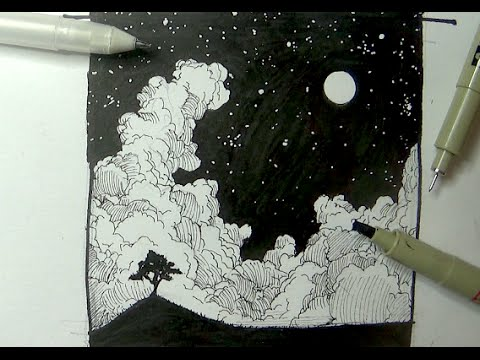 Pen Ink Drawing Tutorials How To Draw A Night Sky Landscape