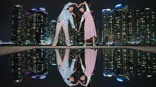 부산 해운대의 밤에 찍어보는 예쁜 커플사진!