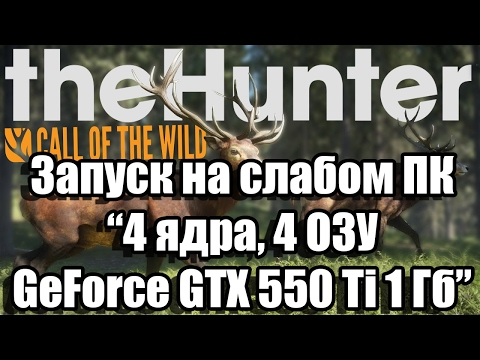 Тест theHunter: Call of the Wild запуск на слабом ПК (4 ядра, 4 ОЗУ, GeForce GTX 550 Ti 1 Гб)