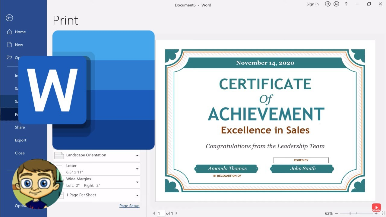 Creating A Certificate In Microsoft Word Youtube