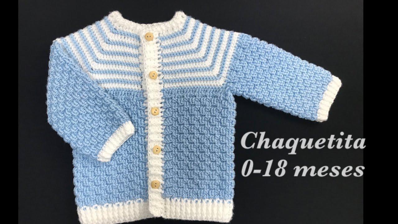 Chaquetita, Abrigo , Sueter o Chambrita a Crochet o Ganchillo Paso a Paso Crochet for Baby