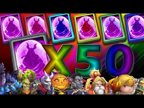 Opening 50 Legendary Hero Cards And Rolling 50K Gems!